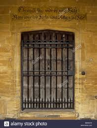a door at montacute house baring the inscription through this wide