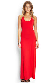 forever 21 crossback maxi dress in red lyst