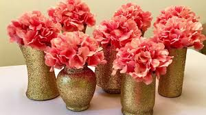 Gold Centerpiece Vases Diy Gold Glitter Vases Centerpieces Youtube