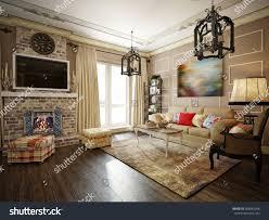 living room kitchen hall style provence stock illustration