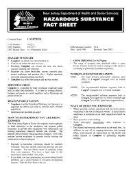 camphor hazardous substance fact sheet occupational hygiene