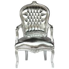 French Style Armchairs Uk French Shabby Chic Silver Leafed Wood Frame Sky Leather Silver