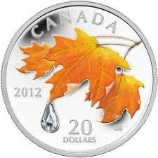 Canadian Flag 1960 2012 Canada 20 Maple Leaf Crystal Raindrop Fine Silver Coin Tax