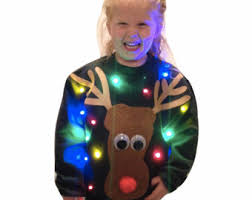 ugly christmas sweater lights up with your face put your