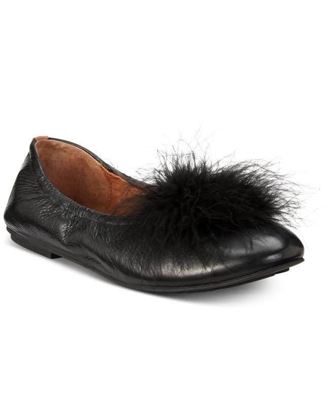 Gentle Souls Portia Pompom Fabric Closed Toe Slide Flats, Black,