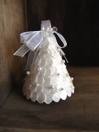 white sparkle christmas tree ornament with by bellamiadesign
