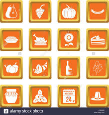 thanksgiving icons pictures thanksgiving icons set orange stock photo royalty free image