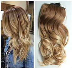 ombre clip in hair extensions 17 inches one half wavy curly ombre clip in hair