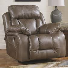 Swivel Rocker Recliner Ashley Furniture Loral Sable Contemporary Faux Leather Swivel