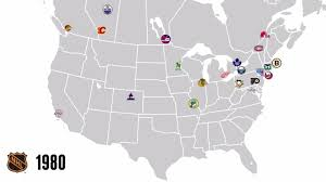 Map Of Mlb Teams 97 Years Of Nhl Expansion In One Simple Map Sbnation Com