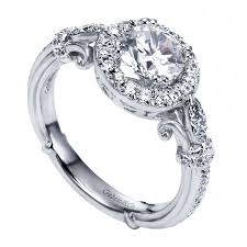 engagement rings vintage style white gold antique style halo engagement ring setting