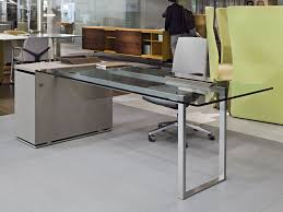 Modern Metal Desks by Executive Desk Metal Glass Contemporary Deck Jorge Throughout