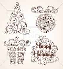 happy holidays background with curly ornamental elements gift box