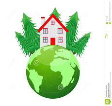 House Planet by House And Planet Earth On A White Background Stock Vector Image
