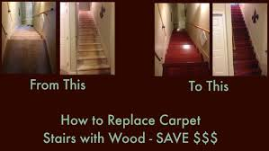 how to replace carpet stairs with wood match existing wood
