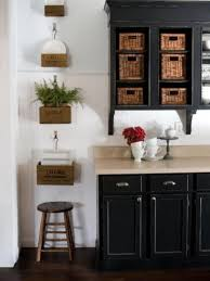 Wall Cabinets For Bathrooms Enticing Black Wall Cabinet With Fabulous Wicker Baskets And