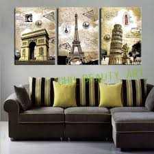 3 panel canvas paintings art european paris italy tower wall