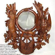 antique black forest carved 24 5 wall mirror plaque hunt theme