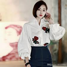 business blouses 2018 fashion 2017 sleeve floral embroidered blouse