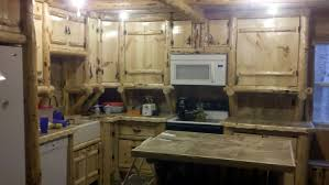 Handmade Rustic Log Kitchen Cabinets And Bar By Drews Up North - Kitchen cabinets custom made
