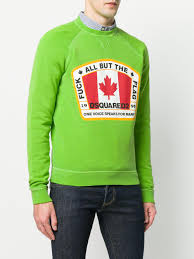 Canadian Flag Patch Lyst Dsquared Canadian Flag Patch Sweatshirt In Green For Men