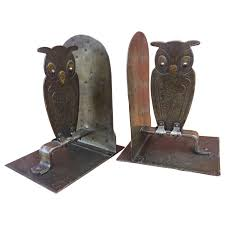 Dragon Bookends Vintage Pair Of Hammered Metal Owl Bookends By Goberg Hugo Berger