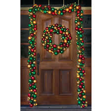 the ornament cordless prelit wreath hammacher schlemmer