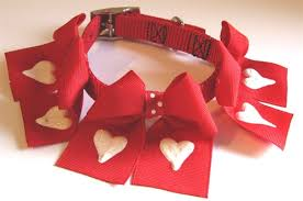 large bow with painted glitter collar collars