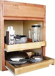 Amazoncom EXPANDABLE PULL OUT CABINET SHELF WOOD Home  Kitchen - Kitchen cabinet sliding drawers