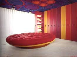 space age planet round bed with yellow fiberglass base bedrooms