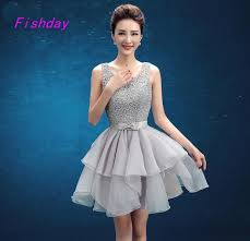 short simple elegant gray semi formal lace ball gown 8th grade