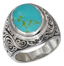 mens silver rings sterling silver mens scroll design oval simulated turquoise ring