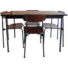mid century chrome and rosewood vinyl dining table and stacking