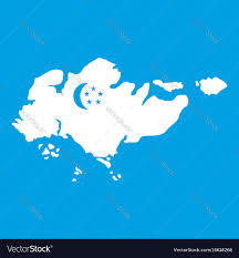 Singapore Flag Icon Map Of Singapore With Flag Icon White Royalty Free Vector