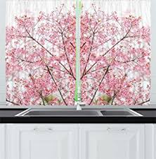 Cherry Kitchen Curtains by Amazon Com House Decor Curtains By Ambesonne Sakura Blossom