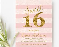sweet 16 birthday invitation sweet 16 invitation pink and