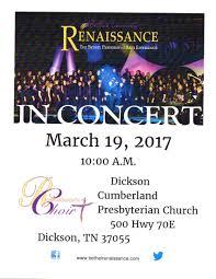 bethel university renaissance choir in concert presented by