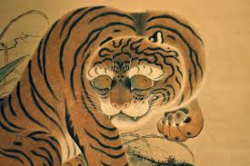 museum japanese tiger on a scroll painting flickr