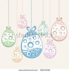 hanging easter color eggs on white stock vector 599270096