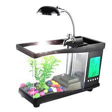 aquarium bureau usb acrylique mini fish tank aquarium led éclairage lumière avec
