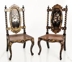 Kissing Chairs Antiques Pair Victorian Papier Mâché Sidechairs Chairs Chairs And Chairs