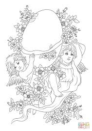 cartoons angels are carrying a decorated easter egg coloring