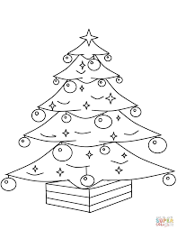 christmas tree with ornaments coloring page free printable