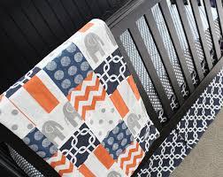 Orange Crib Bedding Sets Elephant Nursery Bedding Set Navy Blue Orange Gray Crib