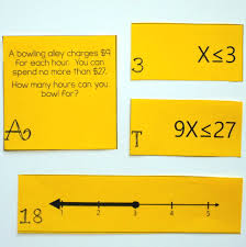 one step inequalities on a number line matching cards word