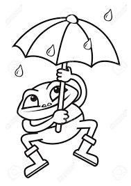 frog umbrella coloring book royalty free cliparts vectors