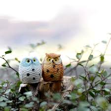 anime birds owl home decor animal moss lawn ornaments