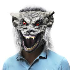 Werewolf Mask Halloween Scary Gray Wolf Head Mask Werewolf Costume Latex Mask