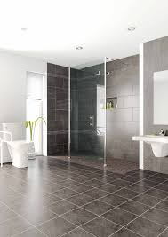 interior bathroom walk in shower tile sandy brown futuristic