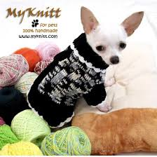 black and white knitted sweater chihuahua clothes dk851 myknitt